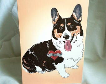 Black Corgi Tattoo Greeting Card