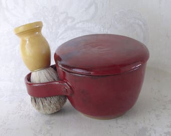 Second- Lidded Shaving Mug in Burgundy