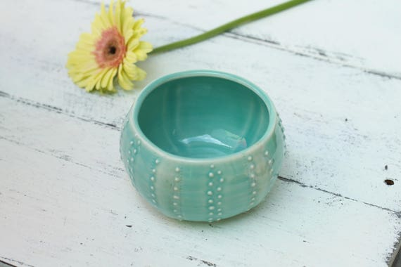 aqua sea urchin bowl, porcelain