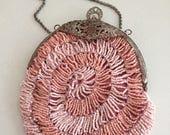 Vintage Katherine's Pink Beaded Evening Handbag - Wedding- Pink Beads - Curio Decor