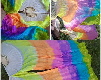 UV Prism Rainbow silk flow fans premade and ready to ship