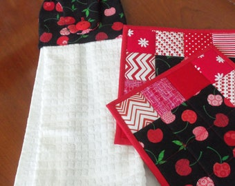 Cherry Hanging Towel and Pot Holder Set - 3 pc. Kitchen Set - Quilted Pot Holders and Towel - Patchwork - Red and White - Quiltsy Handmade