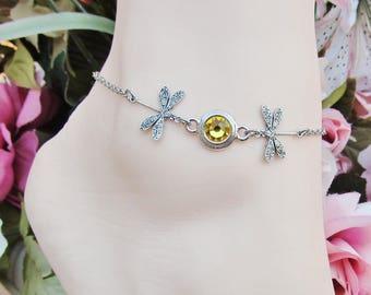 Dragonfly Anklet Swarovski Crystal Ankle Bracelet Adjustable Women's Anklet Gift Boxed