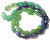 """Antique Trade Beads Mixed Lot of Striped, Uranium Glass & Fluted Teardrops 23"""" Long Strand"""