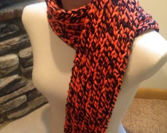Chunky Ribbed Knitted Scarf-Team Spirit- Orange and Black