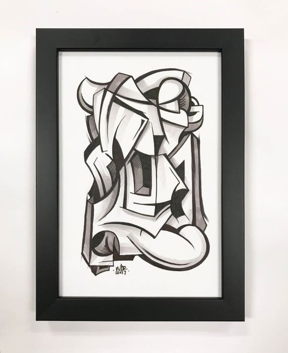 Figure Gun - Original ink drawing on Paper | Signed , Framed and Ready to Hang - 6x9