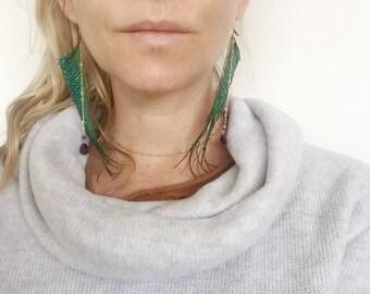 Peacock Sword Amethyst Feather Earrings 12k Gold Fill