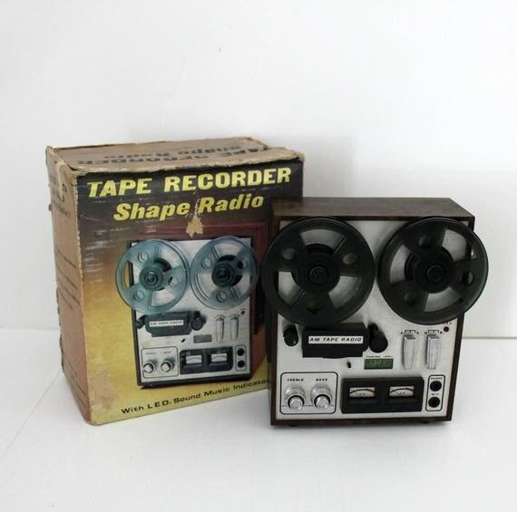 Vintage Novelty Transistor AM Radio, Reel Tape Recorder Shape in Box, Works