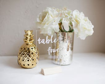 "Acrylic table numbers or names. Size 4 x 6"". Clear plexiglass. Custom designed for your unique wedding style. Any font or style"