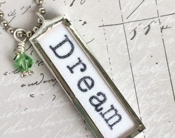 Dream Necklace, Word Jewelry, Dreamer