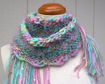 candy lane. art yarn scarf . chunky knit scarf . warm wool pastel handknit scarf . pink aqua lavender yellow sequins sparkle scarf