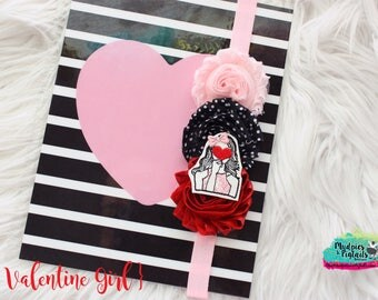 Valentine's day Planner band { Valentine Girl } Red heart, glitter, red pink,  planner girl accessories bible journaling band, baby headband