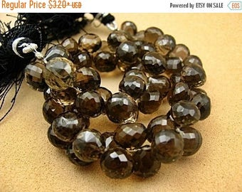 SALE Smokey Quartz Gemstone Bead, Onion Briolette 8-10 mm.  Pairs or NonMatching 1 to 5 Briolettes . (2qsm)