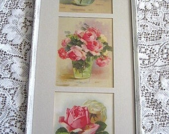 Triptych, Roses, Print, Catherine Klein, Antique, Frame, Old Glass, Yard Long, Art Print, Shabby Chic, C Klein, 3 Rose Print s