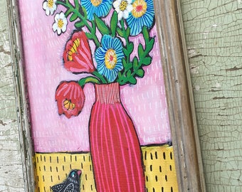 Folk Art Floral Painting in a Handmade Rustic Frame