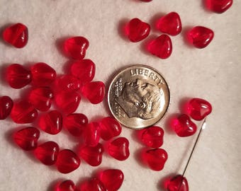 50 6mm Ruby Red Clear Heart Glass Beads