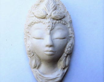 White Tara Ceramic Goddess Miniature Face Kwan Yin Quan Yin Buddhist Lady Face Tibetan Buddism Sculpture Art