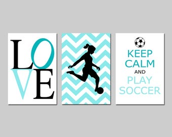 Girls Soccer Decor Girl Soccer Art Bedroom Decor Soccer Wall Art Set of 3 Love, Soccer Player, Keep Calm and Play Soccer  CHOOSE YOUR COLORS