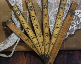 Natural Wooden Extension Lufkin RULER with Metal Slide Out Rule- Vintage Measurement- Wood- A22