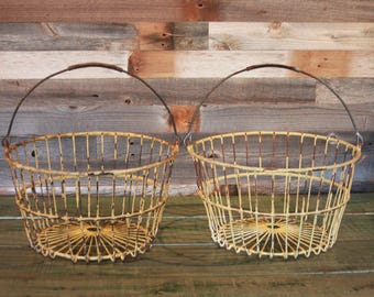 Vintage WIRE BASKETS- Egg Basket Matching Baskets Pair- Potato Basket- Large Metal Basket- Industrial Shabby Chic Decor Primitive Storage
