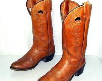 Vintage Tan Cowboy Boots - Acme brand - mens size 10 D / womens 11.5