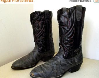 Vintage Cowboy Boots -- Black and grey leather size 10.5 EE or Cowgirl size 12 wide