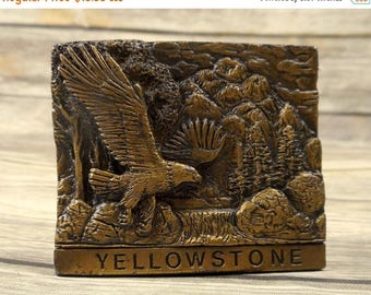 Yellowstone Eagle Belt Buckle National Park Vintage 1979 Spec Cast Tree Country