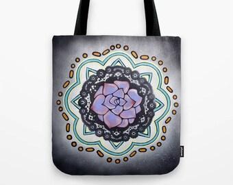 Mandala Tote Bag, succulent art, Talavera pottery design, meditation, yoga, earthy, desert cactus, Mexican floral design