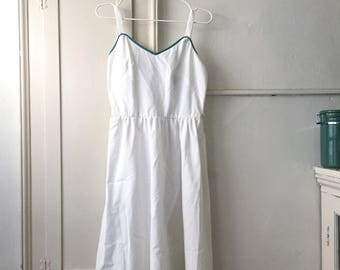 White Cotton Summer Dress // small medium