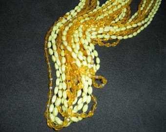Vintage Multi-strand Plastic Necklace in Brilliant Yellow Shades