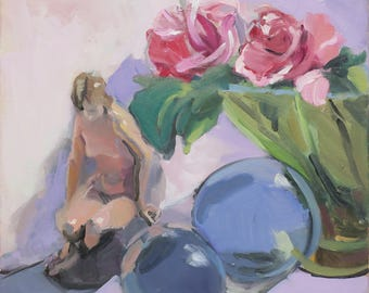 impressionist painting  boutique - colorful painting - figurine - original impressionism still life - 12x12 inches - Linda Hunt - pink roses