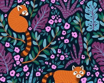 Red Panda Fabric - Red Pandas In The Bush By Alenkakarabanova - Red Panda Nursery Decor Cotton Fabric By The Yard With Spoonflower