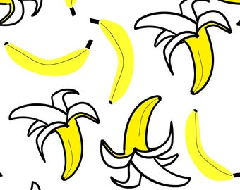 Banana Fruit Food Fabric - Going Bananas - All Yellow By Rebelmod - Pop Art Yellow Bananas Cotton Fabric By The Yard With Spoonflower