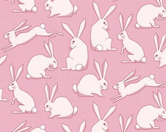 Pink Bunny Fabric - Fluffy Bunnies By Dearchickie - Cute Rabbit Girls Nursery Animal Easter Cotton Fabric By The Yard With Spoonflower