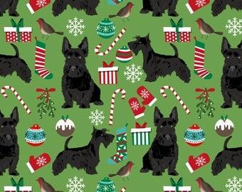 Scottish Terrier Fabric - Black Scottish Terrier Dog Green Christmas Scottie Dog By Petfriendly - Cotton Fabric by the Yard with Spoonflower