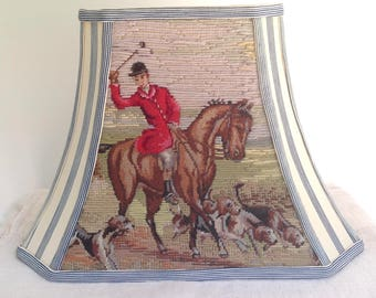 "Fox Hunt Rectangle Lampshade, Needlepoint Lamp Shade + Vintage Ticking Fabric, 7""t x 14""b x 10.5""high, Vintage Needlepoint, Table Lampshade"