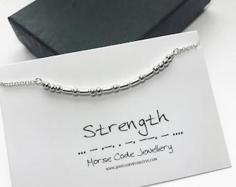 Morse Code Bracelet - STRENGTH - Secret Code Bracelet
