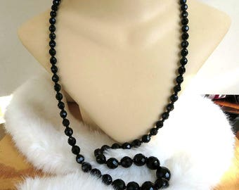 Black Crystal Bead Necklace Vintage Beaded Single Strand Graduated Long
