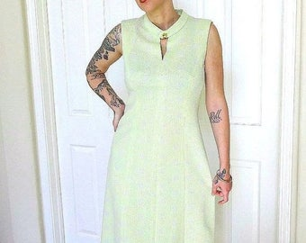 SALE Sleeveless Maxi Dress Vintage 1970s Lime or Mint Green Full Length