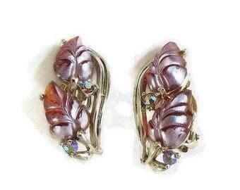 SALE Molded Lucite Earrings Aurora Borealis Rhinestones Iridescent signed Star Vintage