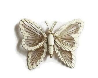 SALE White Enamel Butterfly Brooch Vintage signed Monet