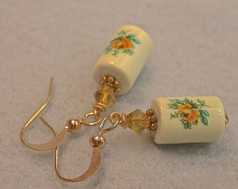 Vintage Japanese Tensha Yellow Rose White Porcelain RARE Barrel Bead Earrings, Vintage Yellow Crystal Beads, Gold French Ear Wires