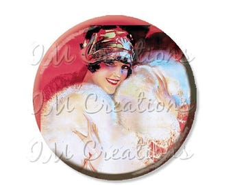 """25% OFF - Pocket Mirror, Magnet or Pinback Button - Wedding Favors, Party themes - 2.25""""- Vintage 1920s Flirty Flapper MR349"""
