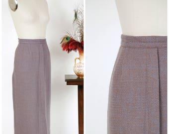 Vintage 1950s Skirt - Chic Wool 50s Straight Skirt in Periwinkle Purple and Brown Tweed