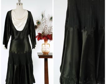 Vintage 1920s Dress - Gleaming Black Silk Satin Segmented Flutter Hem Late 20s Gown with Draped Neckline and White Deco Cuffs