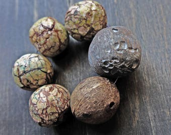 Grungy textured art bead set by fancifuldevices- six (6) rustic organic handmade polymer clay- big and chunky