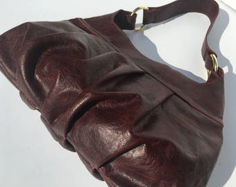 Wine Red Brown Leather Pleated Shoulder Purse