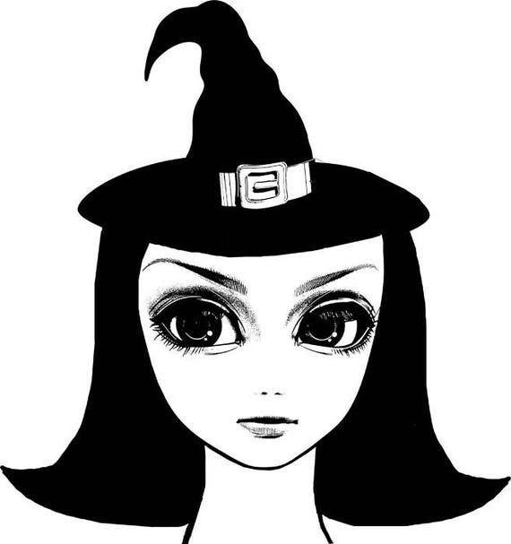 big eye girl witch doll face clipart png clip art Digital stamp Image Download halloween clipart graphics printables