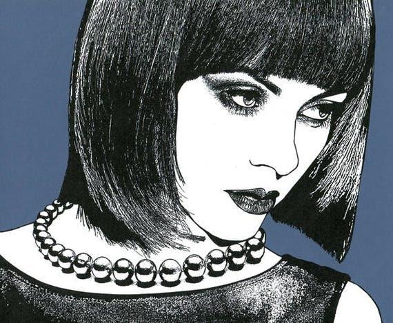 high fashion makeup womans face original art print pearl necklace black hair beauty salon artwork