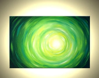 Original Abstract Green Art, Original Painting, Green Yellow Raindrop, Original Canvas Painting Art by Lafferty - 36x24 Sale 22% Off